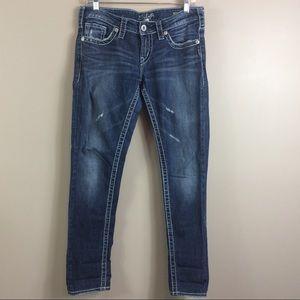 Silver Aiko Distressed Skinny Denim Jeans Sz 28